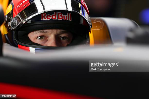 Daniil Kvyat of Russia and Red Bull Racing sits in his car in the garage during day four of F1 winter testing at Circuit de Catalunya on February 25,...