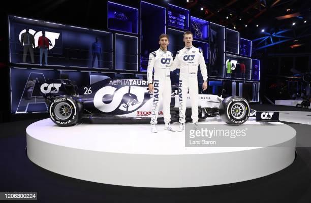 Daniil Kvyat of Russia and Scuderia AlphaTauri and Pierre Gasly of France and Scuderia AlphaTauri pose for a photograph during the Scuderia...