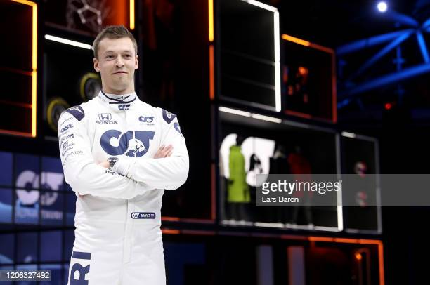 Daniil Kvyat of Russia and Scuderia AlphaTauri poses for a photograph during the Scuderia AlphaTauri AT01 Livery launch on February 14, 2020 in...