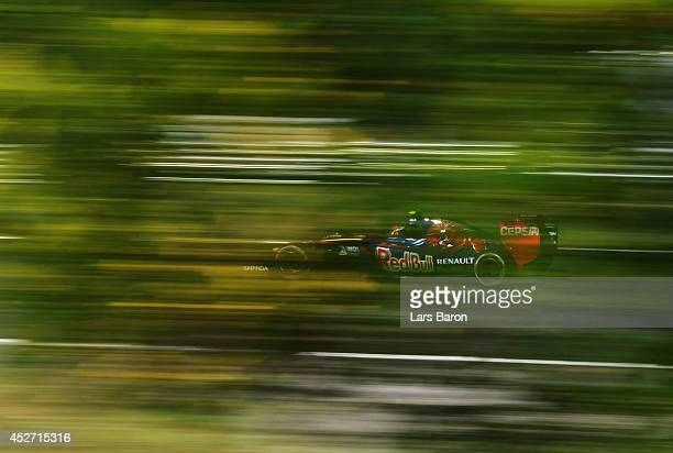 Daniil Kvyat of Russia and Scuderia Toro Rosso drives during final practice ahead of the Hungarian Formula One Grand Prix at Hungaroring on July 26...