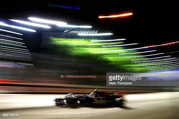 Daniil Kvyat of Russia and Scuderia Toro Rosso drives during practice ahead of the Singapore Formula One Grand Prix at Marina Bay Street Circuit on...