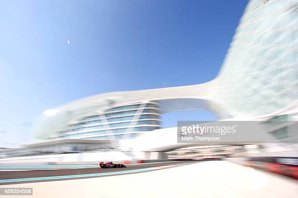 Daniil Kvyat of Russia and Scuderia Toro Rosso drives during practice ahead of the Abu Dhabi Formula One Grand Prix at Yas Marina Circuit on November...