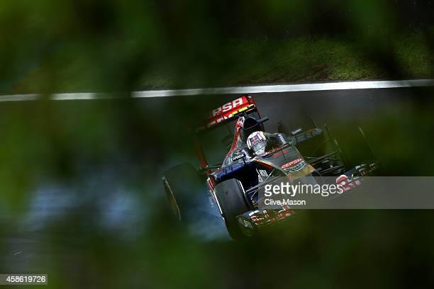 Daniil Kvyat of Russia and Scuderia Toro Rosso locks up during final practice for the Brazilian Formula One Grand Prix at Autodromo Jose Carlos Pace...