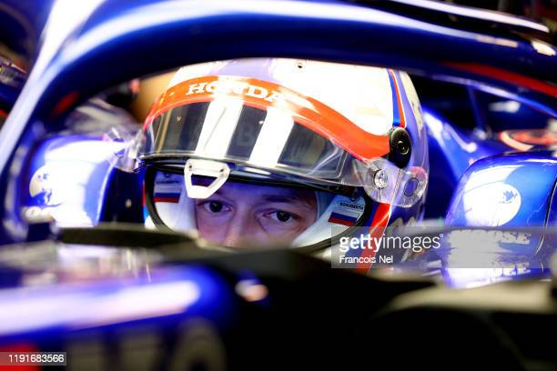 Daniil Kvyat of Russia and Scuderia Toro Rosso looks on as he sits in his car during day one of F1 End of Season Testing in Abu Dhabi at Yas Marina...