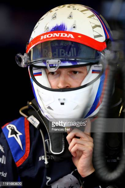 Daniil Kvyat of Russia and Scuderia Toro Rosso looks on during day one of F1 End of Season Testing in Abu Dhabi at Yas Marina Circuit on December 03,...