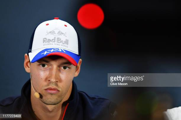 Daniil Kvyat of Russia and Scuderia Toro Rosso looks on in the Drivers Press Conference during previews ahead of the F1 Grand Prix of Russia at Sochi...