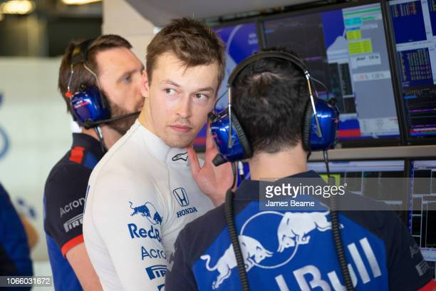 Daniil Kvyat of Russia and Scuderia Toro Rosso prepares to drive in the garage during day two of F1 End of Season Testing at Yas Marina Circuit on...