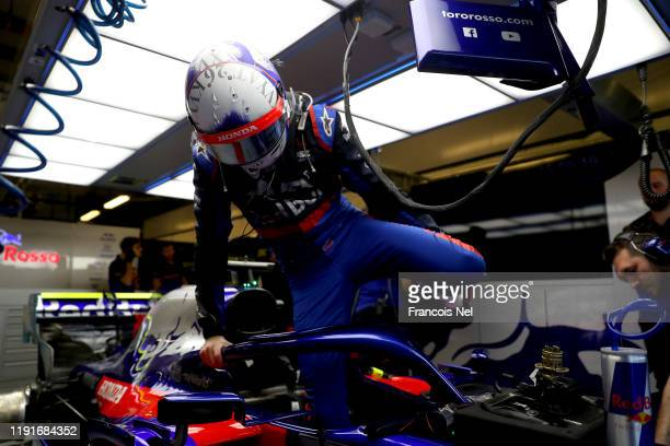 Daniil Kvyat of Russia and Scuderia Toro Rosso prepares to drive in the during day one of F1 End of Season Testing in Abu Dhabi at Yas Marina Circuit...