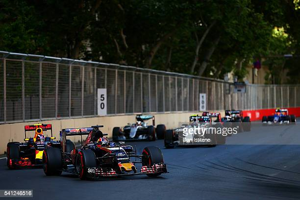 Daniil Kvyat of Russia drives the 3 Scuderia Toro Rosso STR11 Ferrari 060/5 turbo during the European Formula One Grand Prix at Baku City Circuit on...