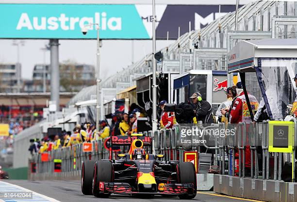 Daniil Kvyat of Russia drives the Red Bull Racing Red BullTAG Heuer RB12 TAG Heuer in the Pitlane during qualifying for the Australian Formula One...