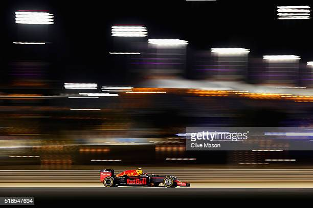 Daniil Kvyat of Russia drives the Red Bull Racing Red BullTAG Heuer RB12 TAG Heuer on track during practice for the Bahrain Formula One Grand Prix at...