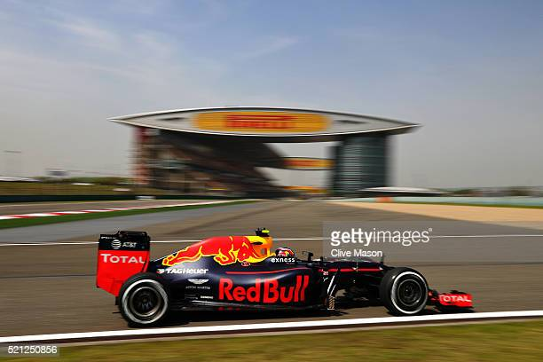 Daniil Kvyat of Russia driving the Red Bull Racing Red BullTAG Heuer RB12 TAG Heuer on track during practice for the Formula One Grand Prix of China...