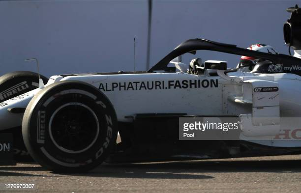 Daniil Kvyat of Russia driving the Scuderia AlphaTauri AT01 Honda on track during the F1 Grand Prix of Russia at Sochi Autodrom on September 27 2020...