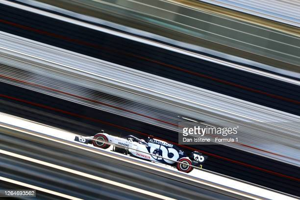 Daniil Kvyat of Russia driving the Scuderia AlphaTauri AT01 Honda during practice for the F1 70th Anniversary Grand Prix at Silverstone on August 07,...