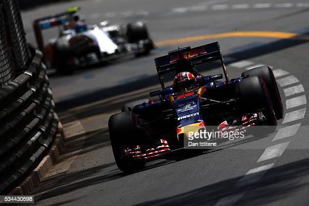 Daniil Kvyat of Russia driving the Scuderia Toro Rosso STR11 Ferrari 060/5 turbo on track during practice for the Monaco Formula One Grand Prix at...