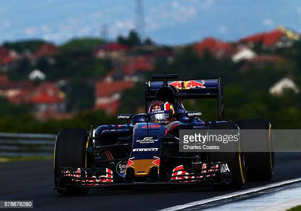 Daniil Kvyat of Russia driving the Scuderia Toro Rosso STR11 Ferrari 060/5 turbo on track during practice for the Formula One Grand Prix of Hungary...