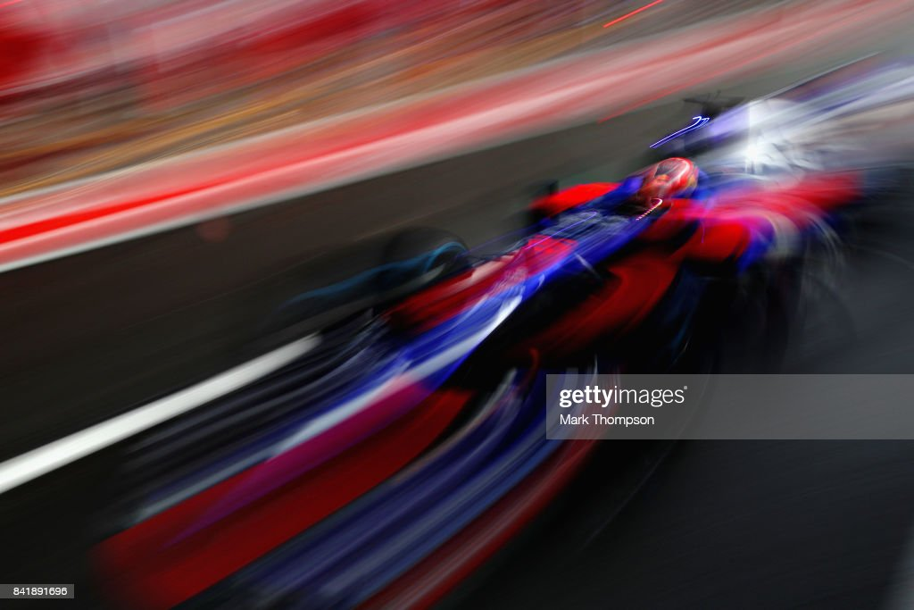 Daniil Kvyat of Russia driving the (26) Scuderia Toro Rosso STR12 in the Pitlane during qualifying for the Formula One Grand Prix of Italy at Autodromo di Monza on September 2, 2017 in Monza, Italy.