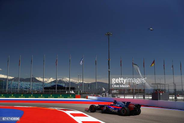 Daniil Kvyat of Russia driving the Scuderia Toro Rosso STR12 on track during final practice for the Formula One Grand Prix of Russia on April 29 2017...