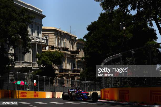 Daniil Kvyat of Russia driving the Scuderia Toro Rosso STR12 on track during practice for the European Formula One Grand Prix at Baku City Circuit on...