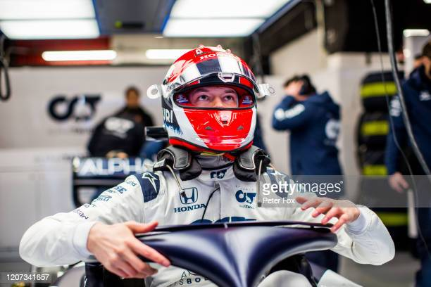 Daniil Kvyat of Scuderia AlphaTauri and Russia during day one of Formula 1 Winter Testing at Circuit de BarcelonaCatalunya on February 19 2020 in...