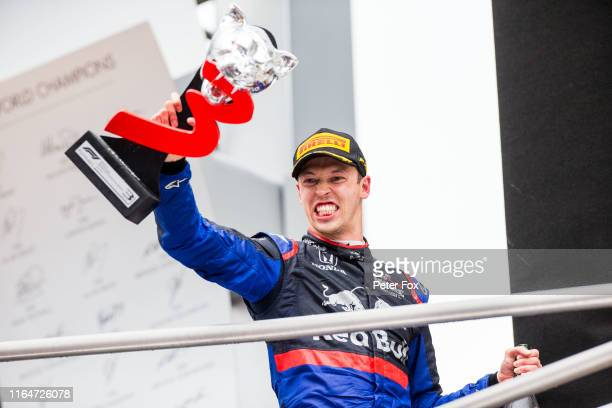 Daniil Kvyat of Scuderia Toro Rosso and Russia celebrates 3rd place during the F1 Grand Prix of Germany at Hockenheimring on July 28, 2019 in...