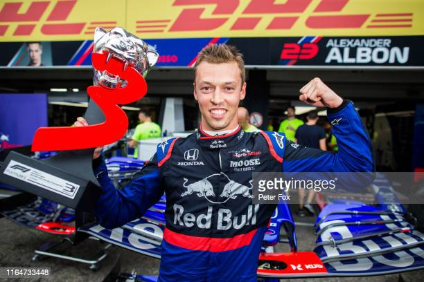 Daniil Kvyat of Scuderia Toro Rosso and Russia celebrating finishing 3rd during the F1 Grand Prix of Germany at Hockenheimring on July 28, 2019 in...