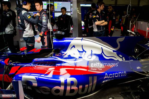 Daniil Kvyat of Scuderia Toro Rosso and Russia during practice for the Formula One Grand Prix of China at Shanghai International Circuit on April 7...
