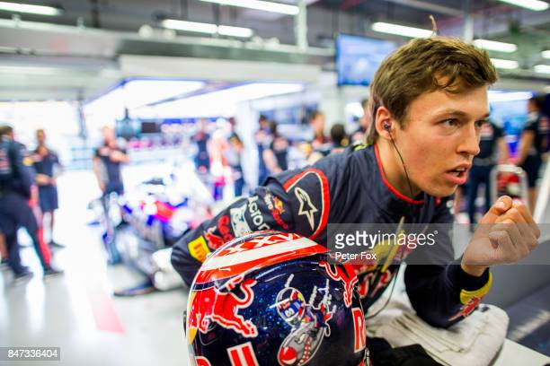 Daniil Kvyat of Scuderia Toro Rosso and Russia during practice for the Formula One Grand Prix of Singapore at Marina Bay Street Circuit on September...
