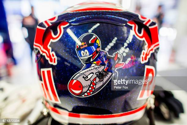 Daniil Kvyat of Scuderia Toro Rosso and Russia news helmet design during practice for the Formula One Grand Prix of Russia on April 28 2017 in Sochi...