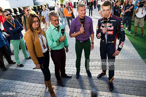 Daniil Kvyat of Toro Rosso and Russia speaks with David Coulthard Eddie Jordan and Suzi Perry of the BBC after qualifying for the Russian Formula One...