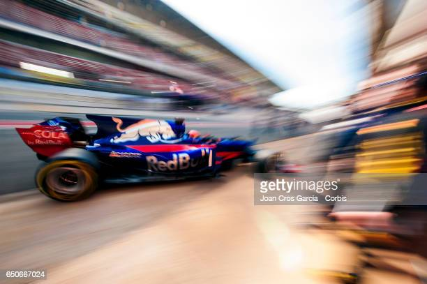 Daniil Kvyat of Toro Rosso team drives in the pit lane during the Formula One Winter tests on May 9 2017 in Barcelona Spain