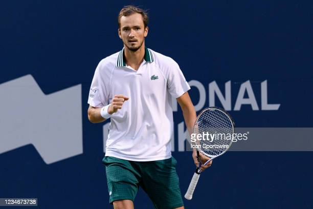Daniil Medvedev celebrates after winning a point during his National Bank Open tennis tournament quarterfinals match on August 13 at Aviva Centre in...