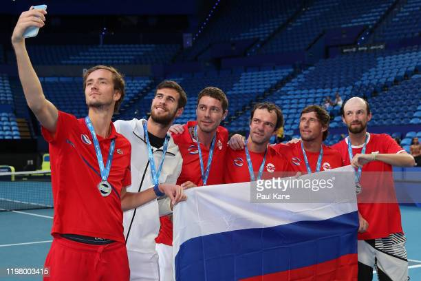 Daniil Medvedev Karen Khachanov Marat Safin Teymuraz Gabashvili Ivan Nedelko and Konstantin Kravchuk of Team Russia take a selfie after winning the...
