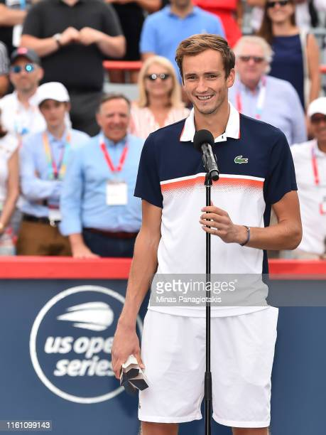 Daniil Medvedev of Russia addresses the spectators after his loss to Rafael Nadal of Spain during the mens singles final on day 10 of the Rogers Cup...
