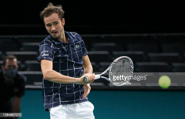 Daniil Medvedev of Russia against Alexander Zverev of Germany during the men's final on day 7 of the Rolex Paris Masters, an ATP Masters 1000...