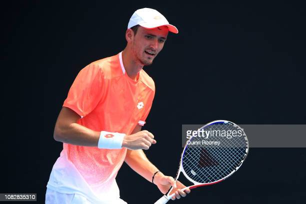 Daniil Medvedev of Russia celebrates a point in his first round match against Lloyd Harris of South Africa during day two of the 2019 Australian Open...