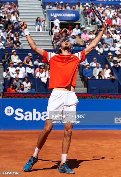 Daniil Medvedev of Russia celebrates after defeating during his Men's round of semi-final match against Kei Nishikori of Japan on day six of the...