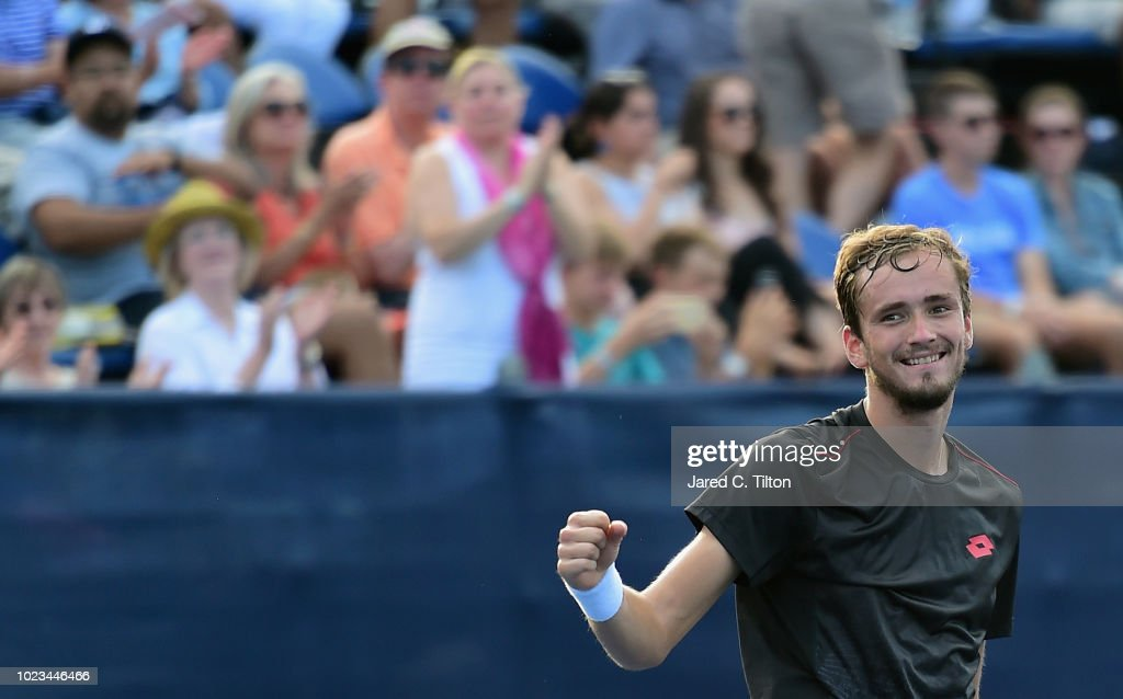 Daniil Medvedev of Russia celebrates after defeating Steve Johnson during the men's singles championship final on day six of the Winston-Salem Open at Wake Forest University on August 25, 2018 in Winston-Salem, North Carolina.