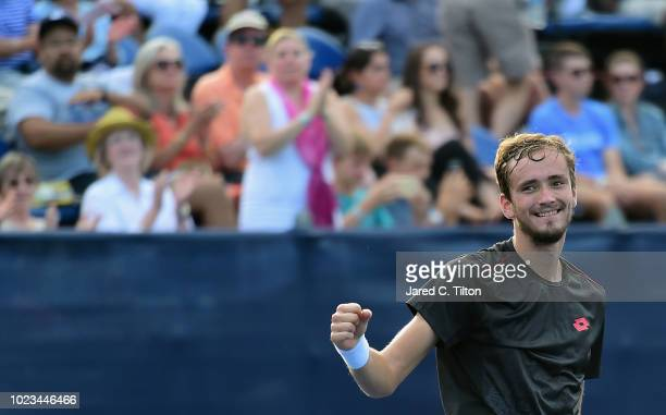 Daniil Medvedev of Russia celebrates after defeating Steve Johnson during the men's singles championship final on day six of the WinstonSalem Open at...
