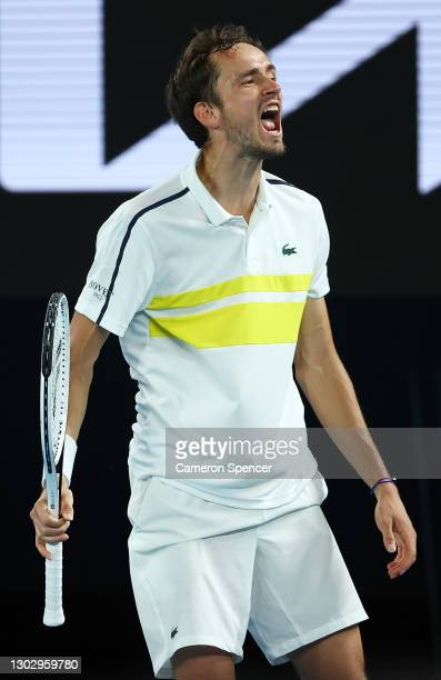 Daniil Medvedev of Russia celebrates after winning a game in his Men's Singles Semifinals match against Stefanos Tsitsipas of Greece during day 12 of...