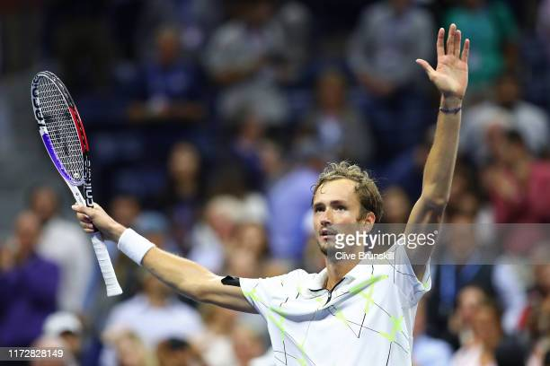 Daniil Medvedev of Russia celebrates after winning his Men's Singles semifinal match against Grigor Dimitrov of Bulgaria on day twelve of the 2019 US...