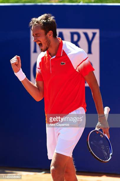 Daniil Medvedev of Russia celebrates defeating Kei Nishikori of Japan during their semifinal match during day six of the Barcelona Open Banc Sabadell...