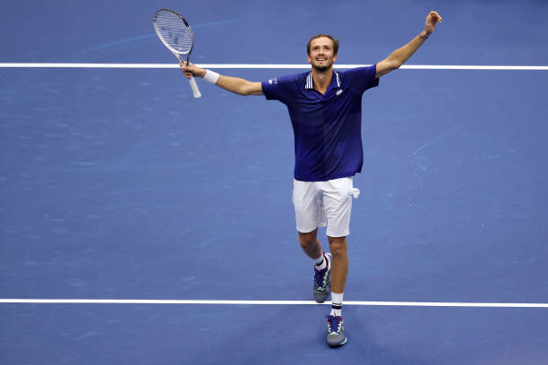 Daniil Medvedev of Russia celebrates defeating Novak Djokovic of Serbia to win their Men's Singles final match on Day Fourteen of the 2021 US Open at...
