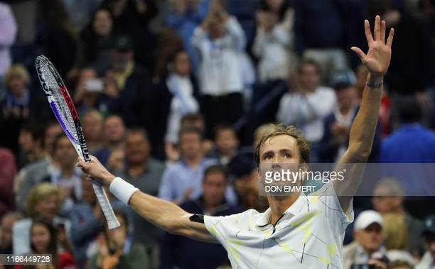 TOPSHOT Daniil Medvedev of Russia celebrates his victory against Grigor Dimitrov of Bulgaria during their Singles Men's Semifinals match at the 2019...