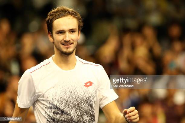 Daniil Medvedev of Russia celebrates his victory in the Singles finals round against Kei Nishikori of Japan on day seven of the Rakuten Open at...