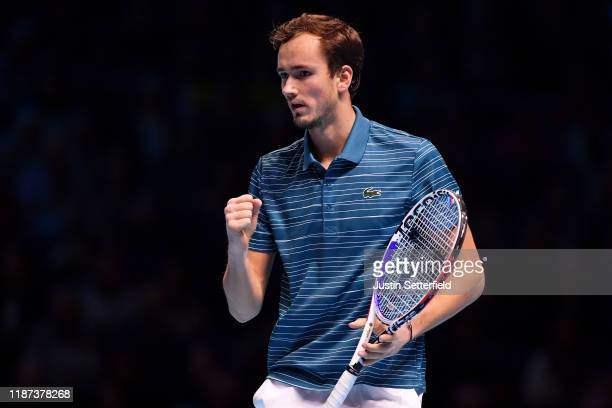 Daniil Medvedev of Russia celebrates in his singles match against Rafael Nadal of Spain during Day Four of the Nitto ATP Finals at The O2 Arena on...