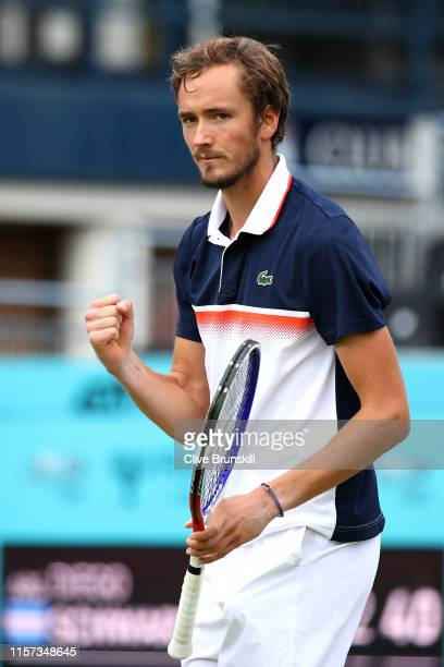 Daniil Medvedev of Russia celebrates match point during his QuarterFinal Singles Match against Diego Schwartzman of Argentina during day Five of the...
