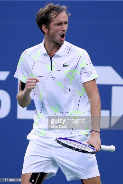Daniil Medvedev of Russia celebrates set point during his Men's Singles fourth round match against Dominik Koepfer of Germany on day seven of the...