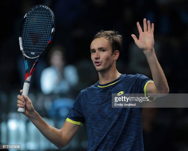 Daniil Medvedev of Russia celebrates the victory at the end of the match against Jared Donaldson of the United States during Day 3 of the Next Gen...