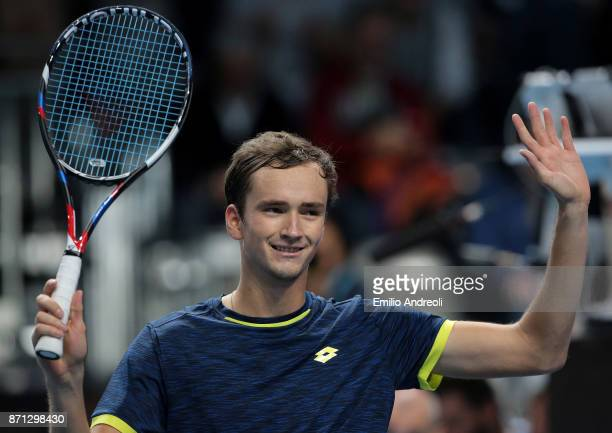 Daniil Medvedev of Russia celebrates the victory in his match against Karen Khachanov of Russia during Day 1 of the Next Gen ATP Finals on November 7...